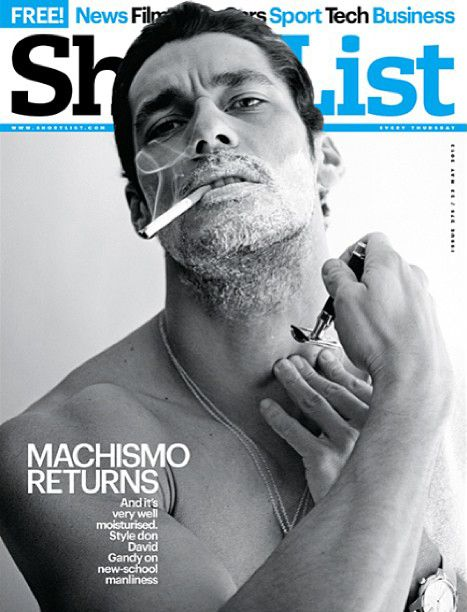Covers - David James Gandy, Shortlist, shaving and cigarette, very masculine, Best male model