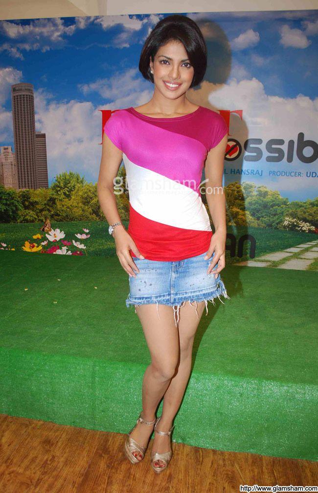 Priyanka Chopra In Short Skirts at Hot Bollywood babes in short skirts