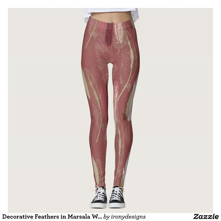 Decorative Feathers in Marsala Wine Leggings - Decorative Feather Pattern done in vector to give a nice clean look. Interesting on its own and a wonderful contrast for other hues, Marsala is a winey red-brown that adds finesse and savoir faire. Rich and robust, Marsala incorporates the warmth and richness of a tastefully fulfilling meal, while its grounding red-brown roots point to a sophisticated, natural earthiness.