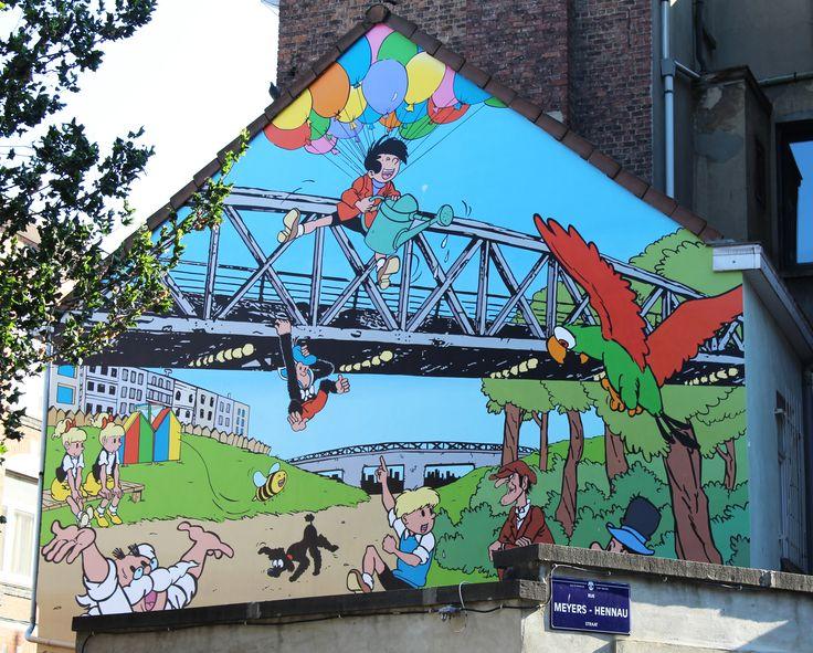 New Comics Mural Painting in Brussels! Belgian comic strip book Jommeke - Rue Chanterelle, Laeken district, Brussels, Belgium.