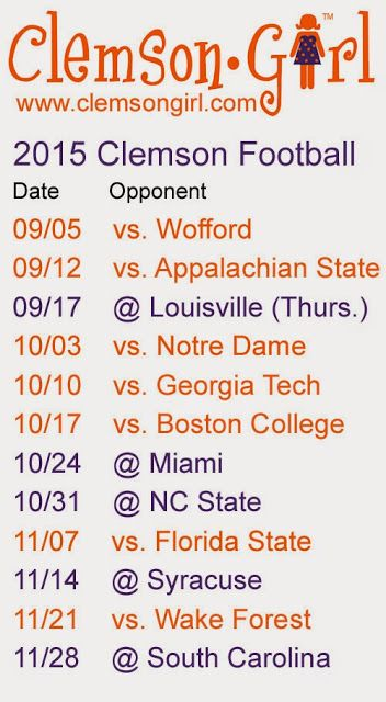 Clemson Girl - 2015 Clemson Football Schedule