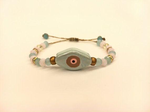 Ceramic bracelet ceramic eye macrame cord bracelet for by FsMade