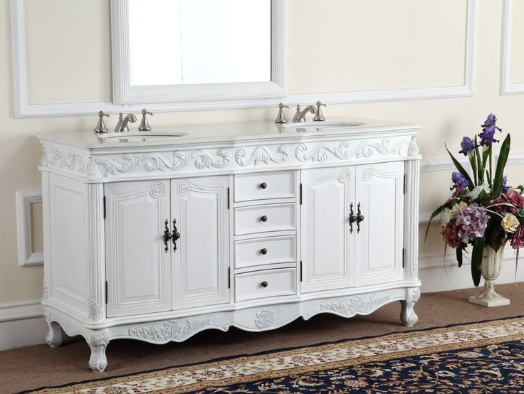 Adelina 64 inch Antique White Double Bathroom Vanity, http://www.listvanities.com/antique-bathroom-vanities.html Fully assembled, White marble counter top, provides double the function and twice the elegance to any classic home and bathroom decor. The intricate acanthus leaf designs and hand-carved legs give the double-sink vanity its distinctive and tasteful presence.