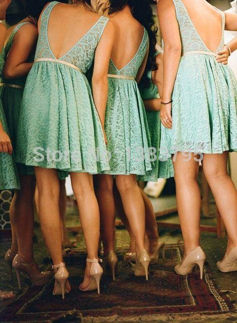 2015 New Arrival Country Style Bridesmaid Dresses Open Back Short Lace…