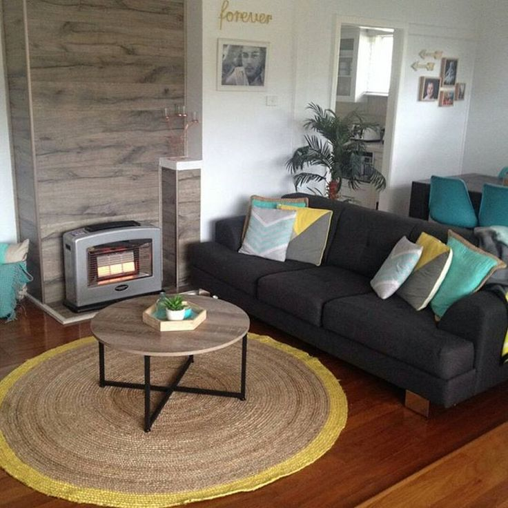 How Gorgeous Is This Loungeroom Created By Features Jute Rug And Industrial Coffee Table