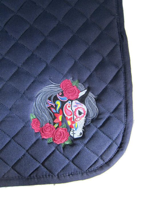 Colorful English Saddle Pad  Navy with by SecretPassageCouture