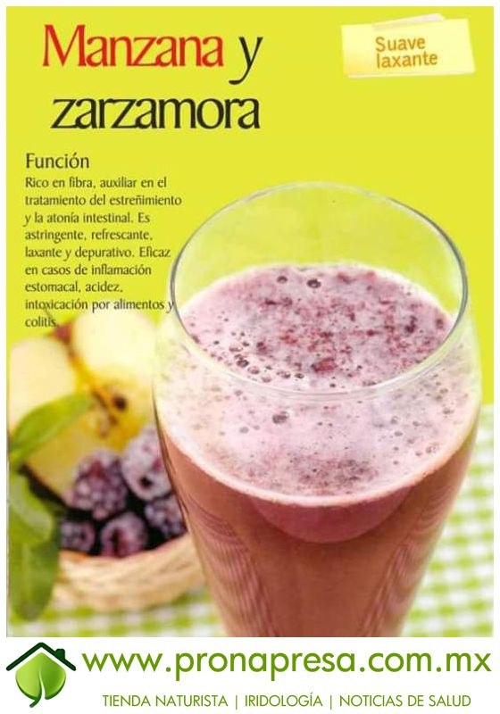 Jugo natural de manzana y zarzamora suave laxante - Frutas diureticas y laxantes ...
