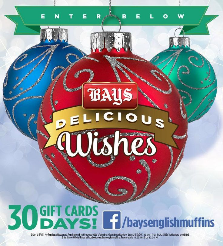 Wishes Do Come True with Bays English Muffins!  You could win a $250 gift card through Christmas Eve 🎄  THIRTY WINNERS WILL BE PICKED!