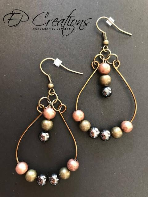 Antique brass teardrop hoop earrings. Available with 2 different bead colors: black/green/brown metal beads OR black/brown beads Delicate, unique teardrop hoop earrings in antique brass wire design. Earrings are light-weighted and on both color schemes perfect for every outfit and