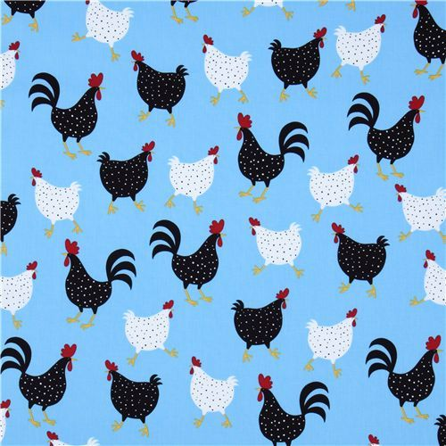 Cockerels Are Scattered All Over This Fabric Made From: Blue Chicken Fabric Robert Kaufman USA Designer