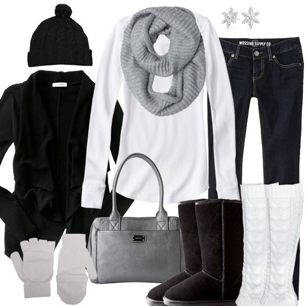 Silver And Black Winter Outfit
