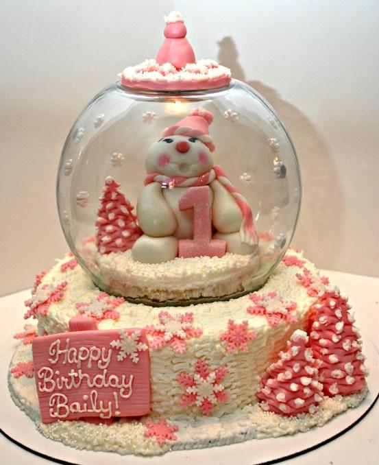 Beautiful pink snowman and snow globe cake by Stella C.! | Safari Ltd® Birthday Cake Contest