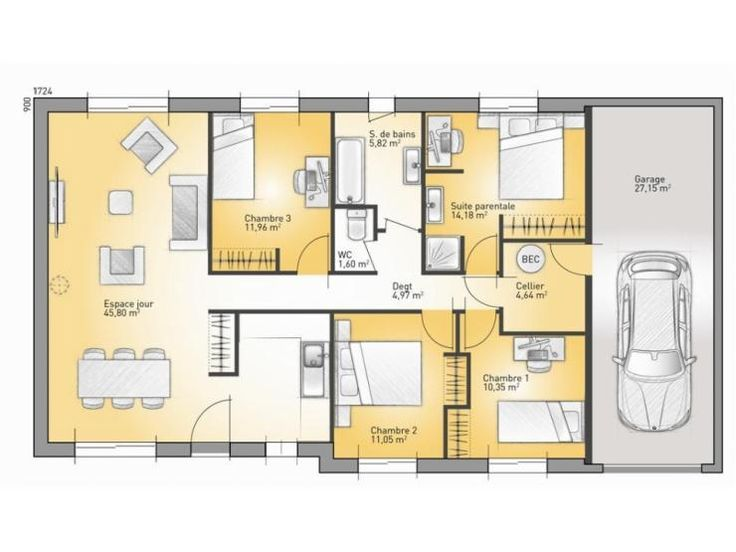 1000 ideas about plan maison plain pied on pinterest - Modele plan maison etage gratuit ...