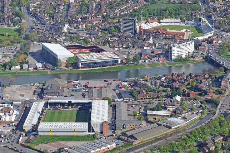 Notts County FC, Nottingham Forest FC and Trent Bridge Cricket Ground all in one shot.
