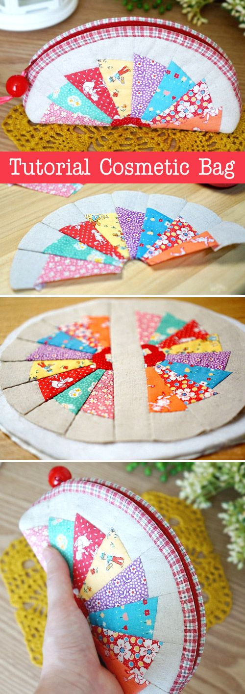 How to make tutorial cosmetic bag purse fabric sewing quilt patchwork. DIY Tutorial in Pictures. http://www.handmadiya.com/2015/10/patchwork-cosmetic-bag.html