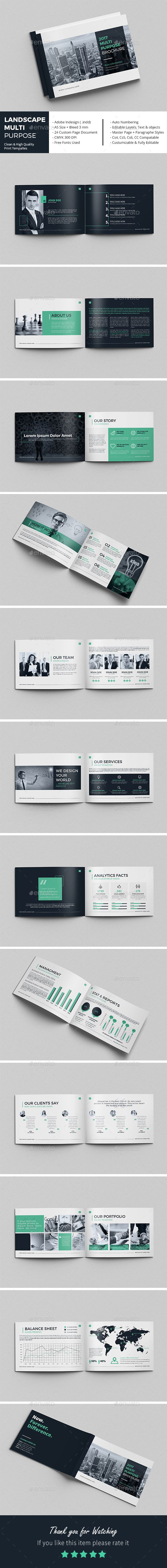 Landscape Multi-Purpose Brochure  — InDesign Template #brochure design #brand…