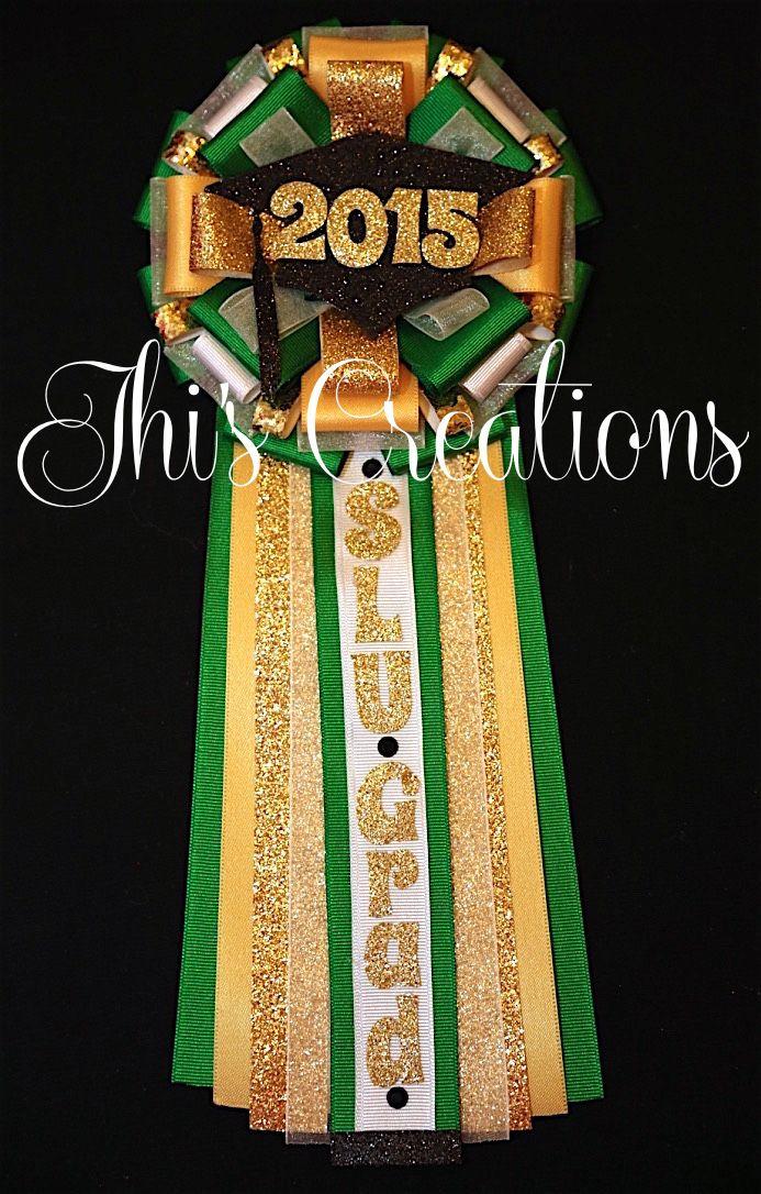 Southeastern Louisiana University graduation pin/mum/corsage in green, golden yellow, and gold... #JhisCreations