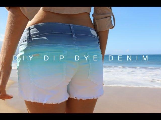 DIY Dip Dye Denim Shorts (Indigo.Aqua)