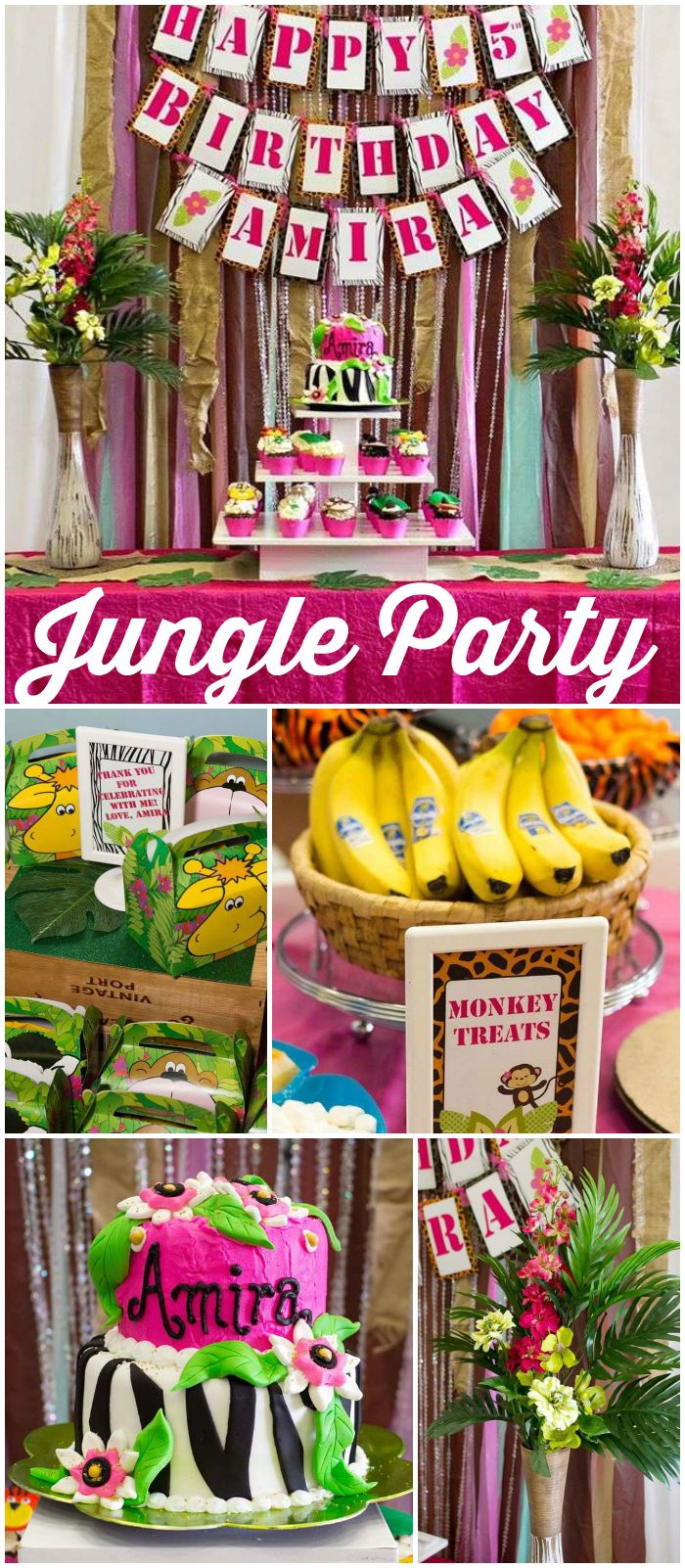 You have to see this girly fun jungle party! See more party ideas at CatchMyParty.com!
