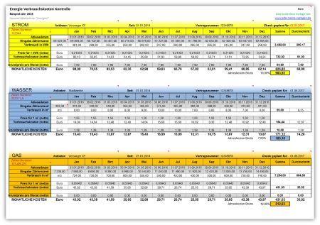 EnergieVerbrauchskostenKontrolle Excel vorlage, Excel