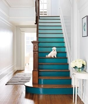 Love this idea. Can stain the wood on banisters and downstairs floor to match and change the entire colour theme on the hallway by only painting the risers.
