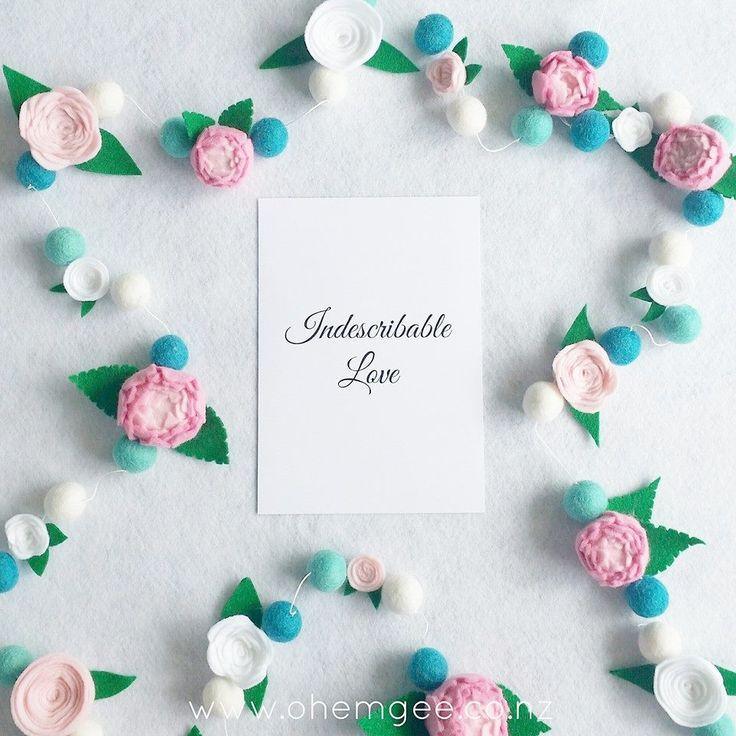 Handmade felt flower and felt ball garland. Whimsical, girly. bedroom, or birthday decor. www.ohemgee.co.nz