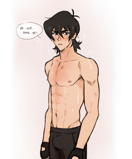 Shirtless and sweaty Keith from Voltron Legendary Defender