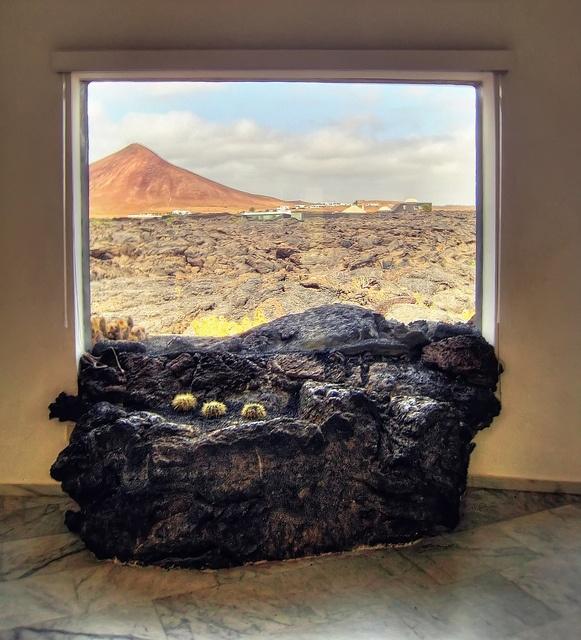 Lava field protrudes in the interior of Cesar Manrique's house on Lanzarote