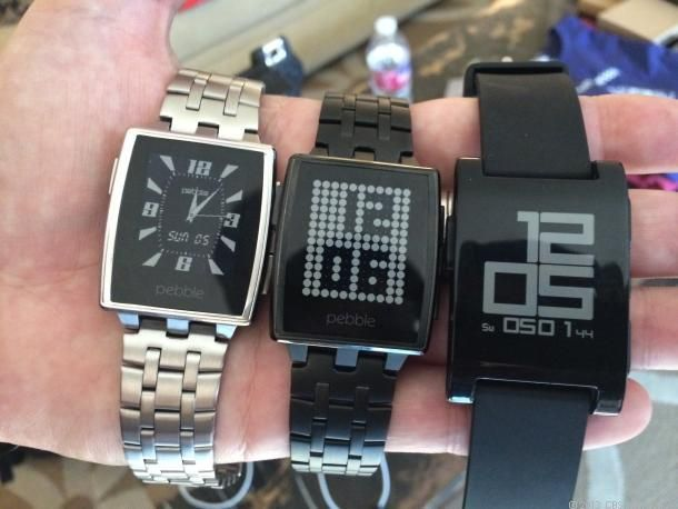 Pebble Steel iOS and Android-compatible smartwatch, with Gorilla Glass-covered LED display. Band available in matte black or brushed stainless steel. as well as in leather.