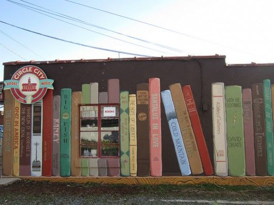 Bookstore Mural. Created on a side wall of Circle City Books and Music in Pittsboro.