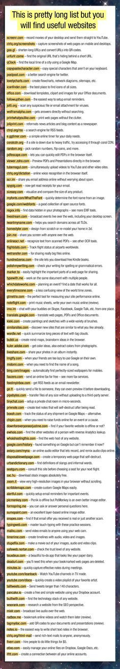 These websites are not hyperlinked but most of them do exist and some are really helpful!