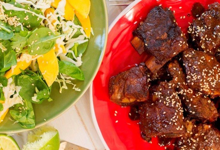 Sticky Pork Ribs with Mango and Sesame Salad - Nadia Lim