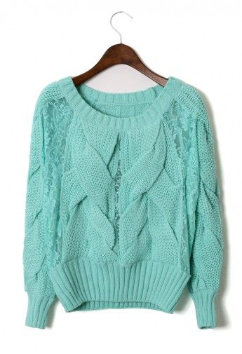 Mint Cable Knit Sweater....IN LOVE....