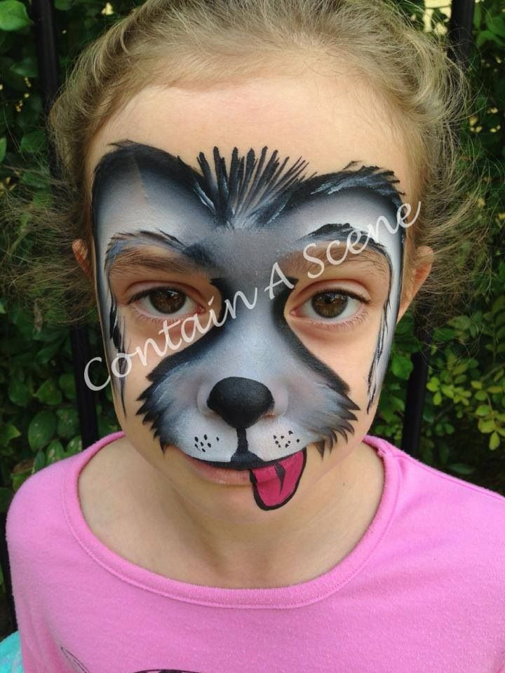 face painting puppy, whole face  Contain A Scene || Great puppy facepaint that doesn't smother the whole face in color