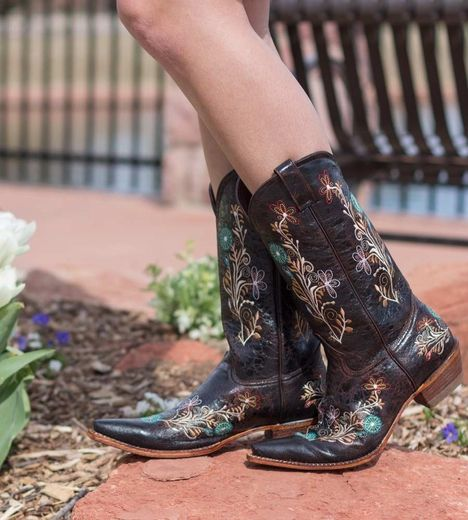 Beautiful flowers with a wedding dress: Pecos Bill Womens Fancy Flower  Embroidered Cowboy Boots - Brown/Multi