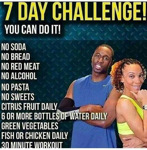 Day Challenge: No soda, no bread, no read meat, bottled water....