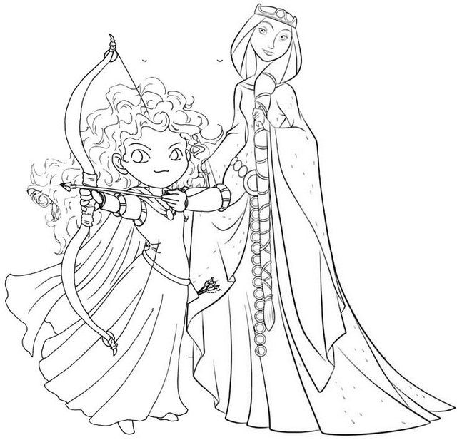 Princess Merida And Queen Elinor From Brave Coloring Page Coloring Pages Disney Coloring Pages Family Coloring Pages