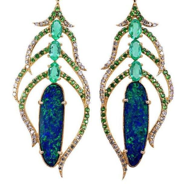 Emerald diamond and opal art nouveau chandelier earrings. To order @tobylynngems