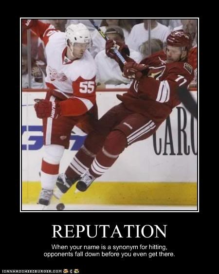 Somebody got Kronwall'd! (also find it funny that the person falling down is a Coyote player :-P )