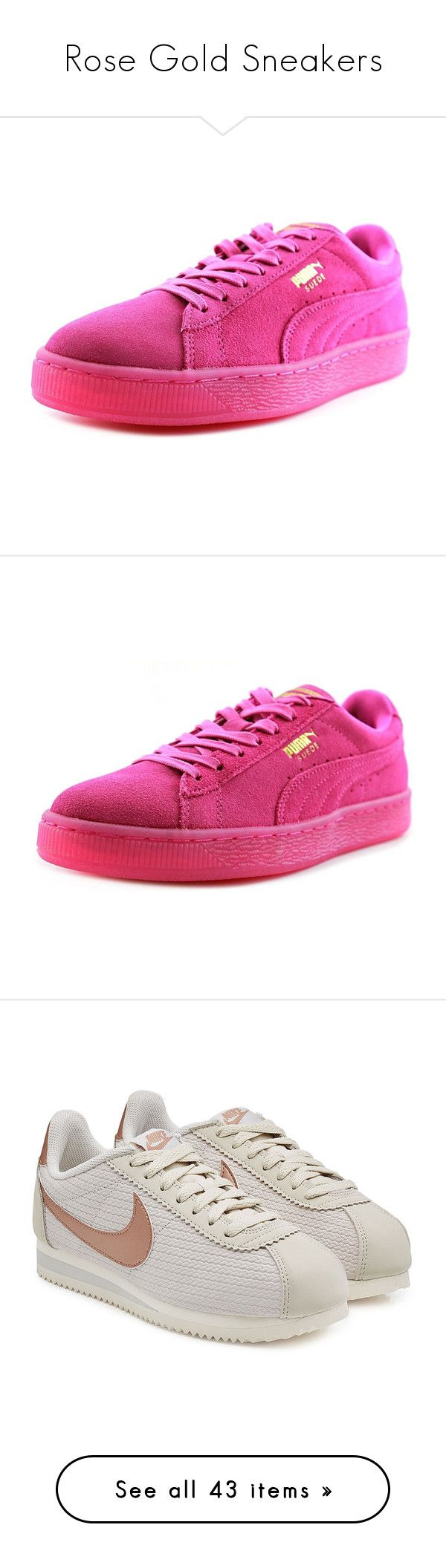 """""""Rose Gold Sneakers"""" by azurahanumabdullahsani ❤ liked on Polyvore featuring shoes, sneakers, pink, puma footwear, pink low heel shoes, pink suede shoes, grip shoes, puma trainers, suede sneakers and short heel shoes"""