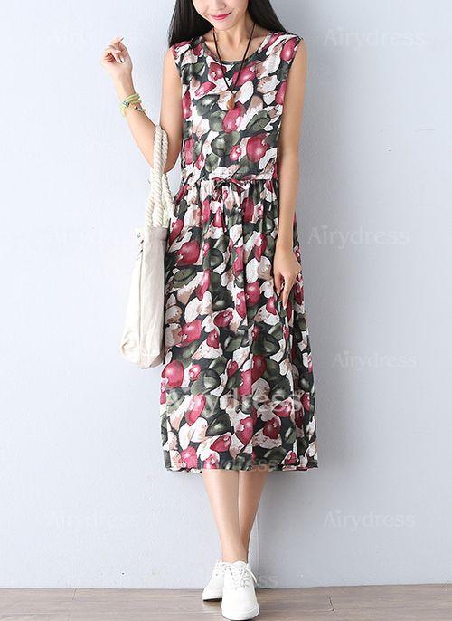 Dress - $24.63 - Linen Floral Sleeveless Mid-Calf Casual Dresses (1955125054)