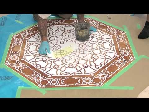 Concrete Stenciling with Acid-Etching Gelhttp://www.concretenetwork.com Watch a concrete stencil being applied and used with acid-etching gel. The surface was previously acid stained to get the brown/tan color. The acid-etching gel will remove some of this color leaving a stenciled pattern.