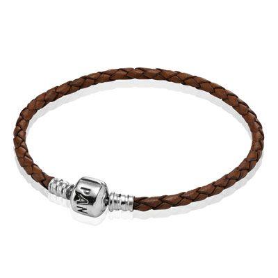 PANDORA   Single leather bracelet, Brown