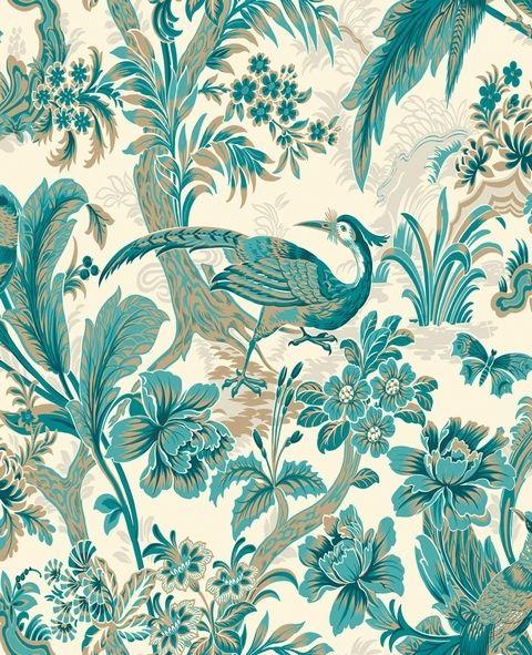 Bird Toile Wallpaper