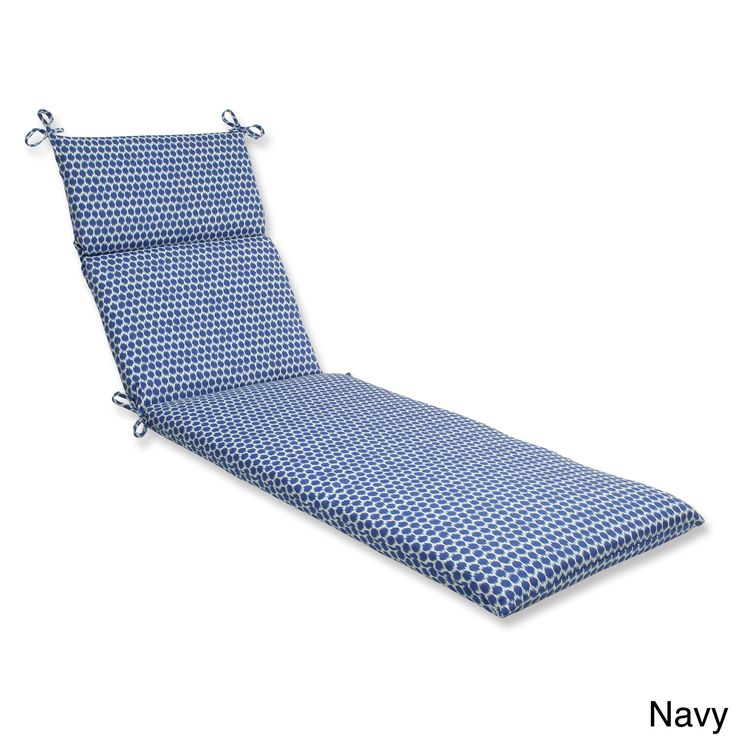 pillow perfect seeing spots chaise lounge outdoor cushion navy blue fabric
