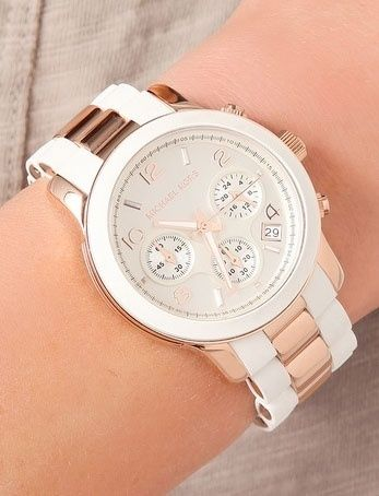 I need a Michael Kors watch in my life. Rose gold/white <3 21st birthday present wish list!