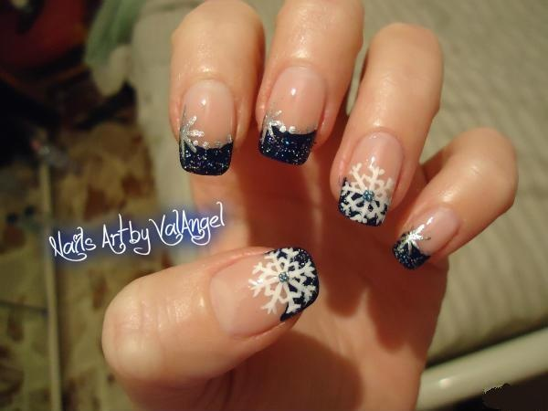 91 best my nails art images on pinterest nail art base coat and snowflake tip nails winter christmas nail art prinsesfo Gallery