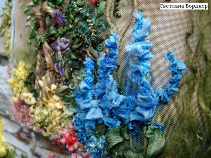 "Gallery.ru / Картина вышивка лентами ""Садовая арка"" - Картина вышивка шелковыми…"