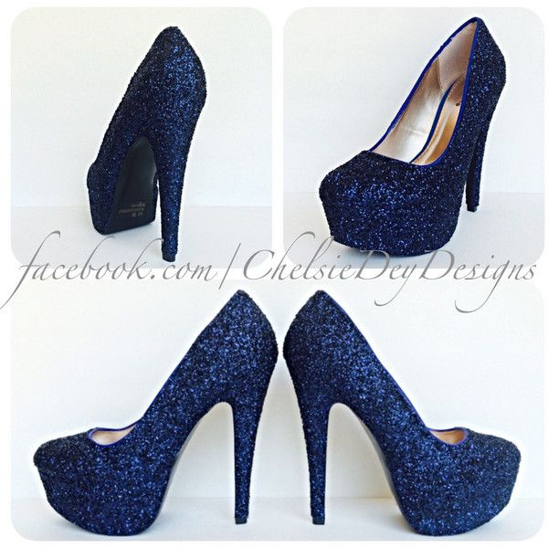 Navy Blue High Heels Glitter High Heel Closed Toe Pumps Dark Blue... ($72) ❤ liked on Polyvore featuring shoes, pumps, black, women's shoes, black shoes, bow pumps, black high heel pumps, high heeled footwear and high heel shoes