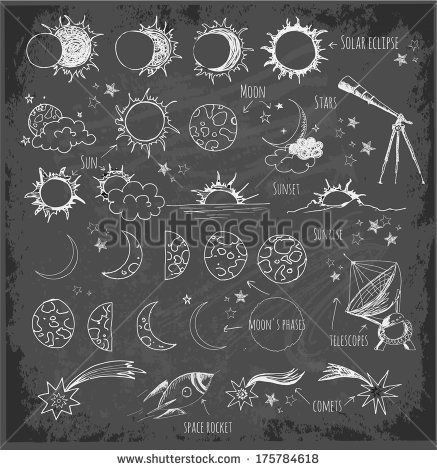 Set of astronomy sketches. Sun, Moon, sun eclipse, moon's phases, telescopes, stars and comets, space objects. Hand-drawn with ink in vintage style. Vector sketch illustration. - stock vector